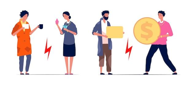 Reiche und arme leute. frau mit brillanten, mann mit geld. obdachlose brauchen hilfe. konfrontation von reichtum und armut vektor-illustration