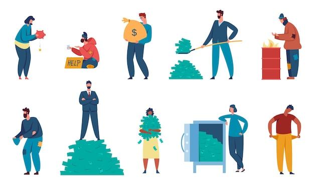 Reiche und arme leute, milliardär und obdachloser bettlercharakter. finanzungleichheit, armut, verschiedene soziale klassenzeichen vektorsatz. finanzielle lücke, großes und niedriges einkommen oder gewinn
