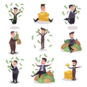 Reiche wohlhabende glückliche millionärsfiguren setzen bunte illustrationen