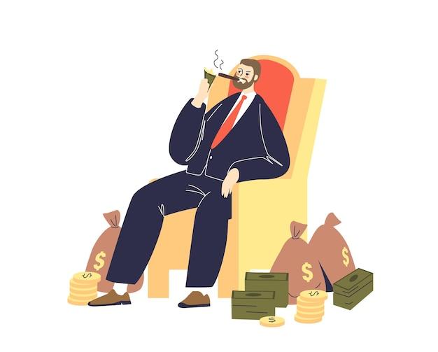 Reicher geschäftsmann, der zigarre mit dollarnoten anzündet