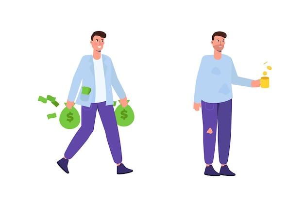 Reicher und armer mann. reichtum und armut konzept. vektorillustration im cartoon-stil.