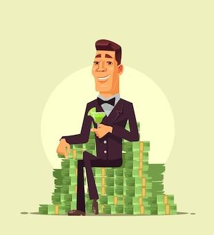 Reicher wohlhabender glücklicher lächelnder geschäftsmannarbeiterunternehmercharakter, der auf stapel sitzt