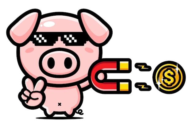 Reiches schweinemaskottchen-charakterdesign