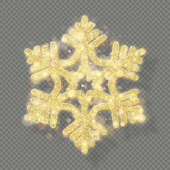 Reichhaltige weihnachtsdekoration mit glitzerndem goldenem bokeh. glänzende schneeflocke lokalisiert auf transparentem hintergrund.
