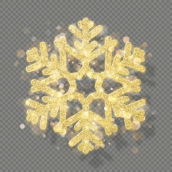 Reichhaltige weihnachtsdekoration mit glitzerndem goldenem bokeh. leuchten sie schneeflocke auf transparentem hintergrund.