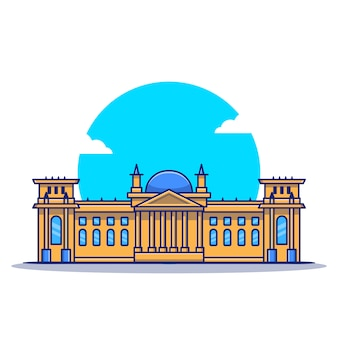 Reichstag cartoon icon illustration. famous building travelling icon concept isoliert. flacher cartoon-stil