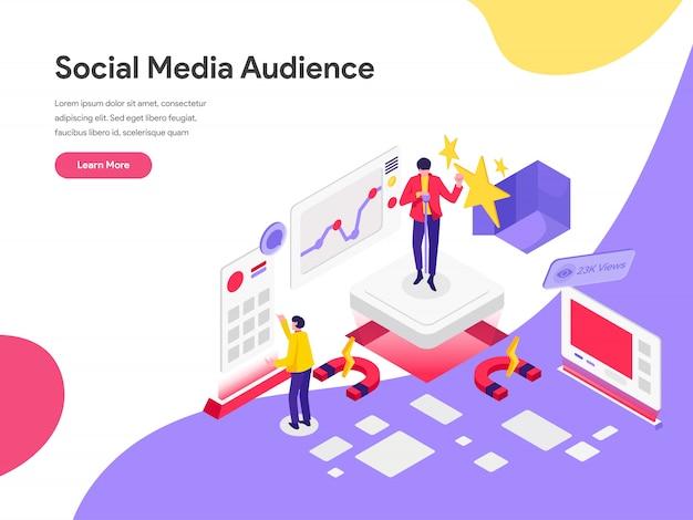 Reichweiten-social media-publikums-illustrations-konzept