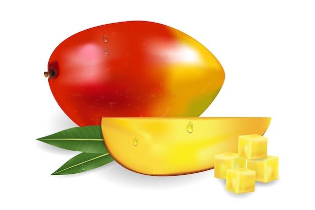 Reife frische mango mit scheibenblättern und tropfen
