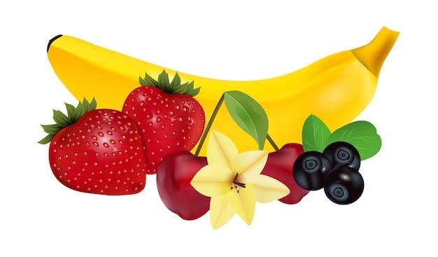Reife früchte und beeren mit vanilleblüte. banane, erdbeere, kirsche und blaubeere. illustration.