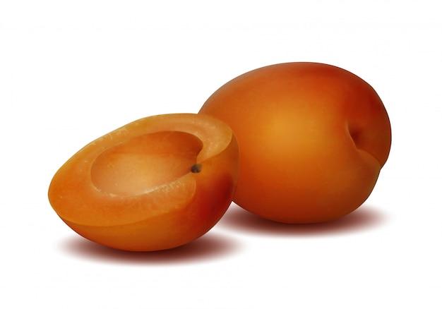 Reife geschnittene aprikose auf weiß