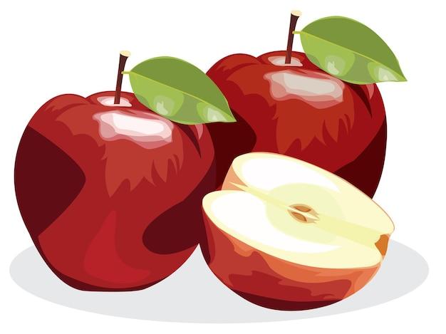 Reife rote apfelfrucht mit apfelhälfte und grünem apfelblatt lokalisiert auf weißem hintergrund.