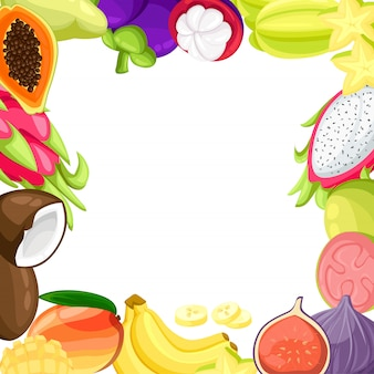 Reife tropische früchte und scheiben realistisch eingestellt mit bildern von mango pitaya papaya kokosnuss und passionsfrucht illustration auf weißem hintergrund.