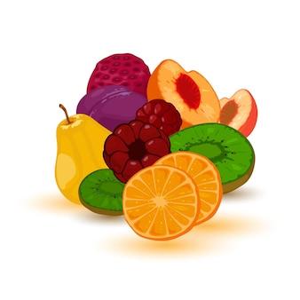 Reife und saftige sammlung von früchten für marmelade