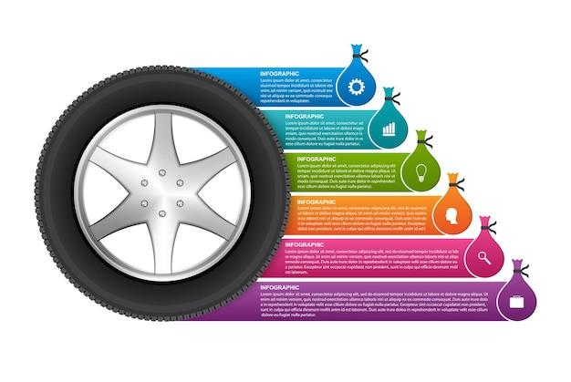 Reifen mit aufklebern für broschüren und präsentationen