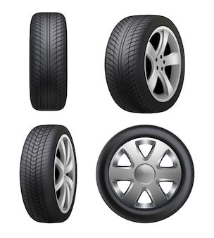 Reifen realistisch. autoreifen für autos bilder isoliert. illustration reifenauto, radautogummi, fahrzeugtransport