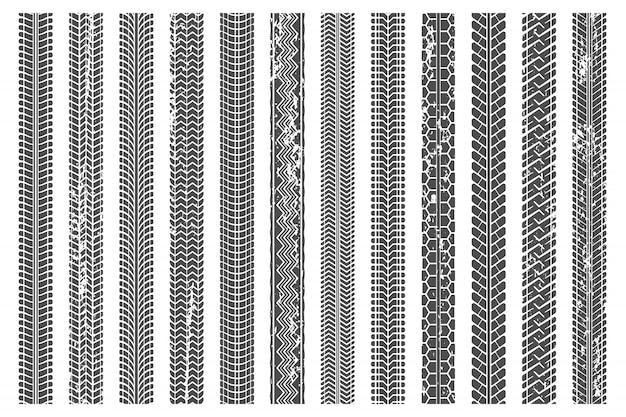 Reifen treten auf spuren. schmutzige reifenspur, grunge-textur tritt auf muster und lkw-autospur-illustrationssatz