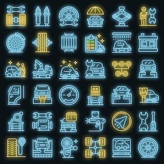 Reifenmontage-icons gesetzt. umrisse von reifenmontage-vektorsymbolen neonfarbe auf schwarz