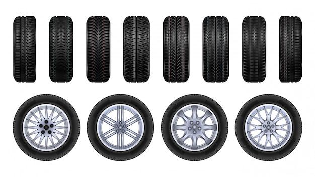Reifenräder realistisches satzsymbol.