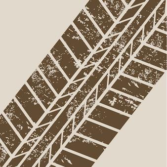 Reifenspuren über beige hintergrundvektorillustration