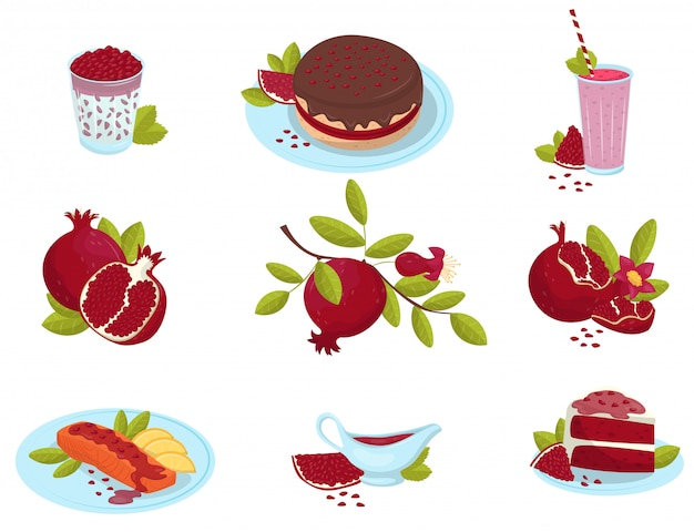 Reifer granatapfel, frische obstnahrungsmitteldesserts und saucen eingestellt, köstliche granatgerichte illustrationen auf einem weißen hintergrund