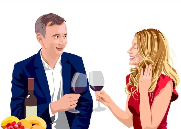 Reifes paar, das gläser wein an einem datum klirrt. mann, der anzug und frau mit blondem haar im roten kleid trägt
