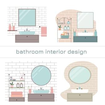 Reihe moderner badezimmer-innenarchitekturen.