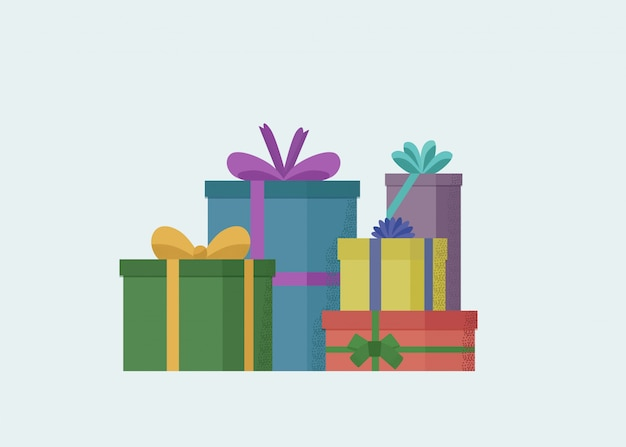 Reihe verpackte geschenke mit verschiedenen bögen.