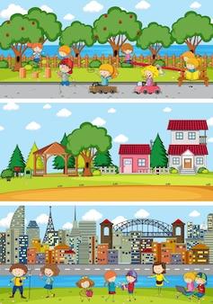 Reihe verschiedener horizontszenen mit doodle-kinder-cartoon-figur