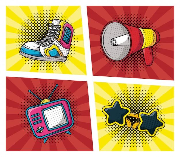 Reihe von accessoires pop-art-stil