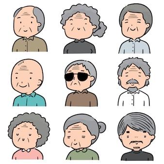 Reihe von älteren menschen
