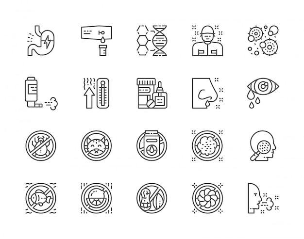Reihe von allergien und allergene icons Premium Vektoren
