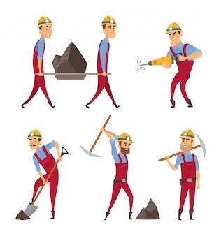 Reihe von arbeitenden menschen. bergleute in verschiedenen aktionshaltungen