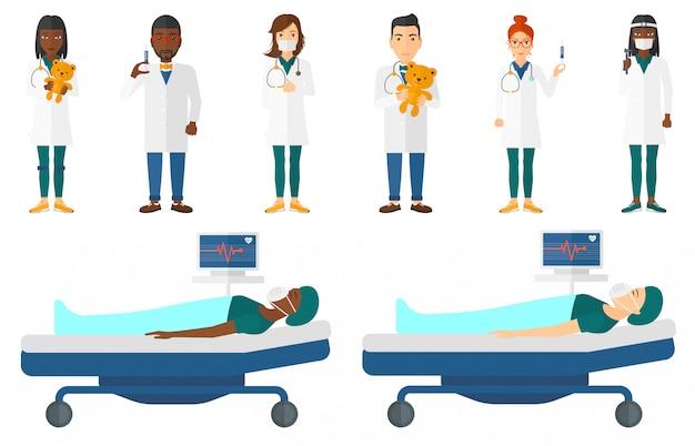 Reihe von arzt zeichen und patienten.