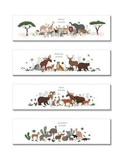 Reihe von bannern mit afrikanischen, amerikanischen, asiatischen und australischen tieren. okapi, impala, löwe, chamäleon, zebra, lemur jaguar gürteltier hirsch waschbär fuchs echidna eichhörnchen hase koala krokodil elch