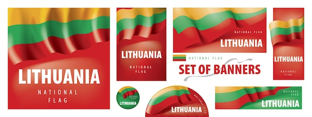 Reihe von bannern mit der nationalflagge litauens.