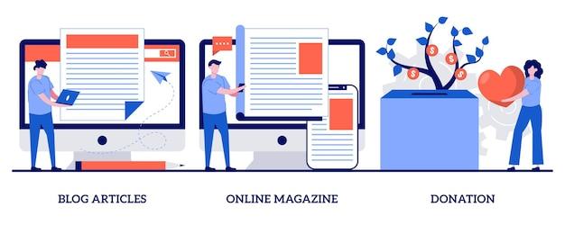 Reihe von blog-artikeln, online-magazin, spende, website-tabs