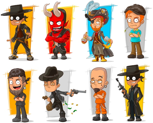 Reihe von bösen jungs zeichentrickfiguren