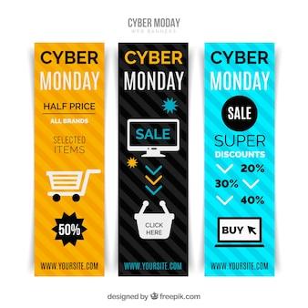 Reihe von bunten cyber montag banner