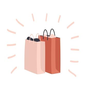 Reihe von bunten einkaufstüten und pakete. vektor-illustration