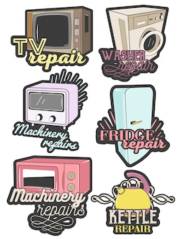 Reihe von bunten haushaltsgerät reparatur embleme