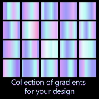 Reihe von bunten holographischen neon-farbverläufen.