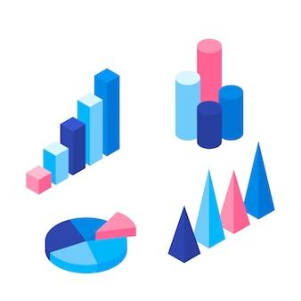 Reihe von bunten infografik-elementen: präsentationsgrafiken, statistiken von daten und diagrammen.