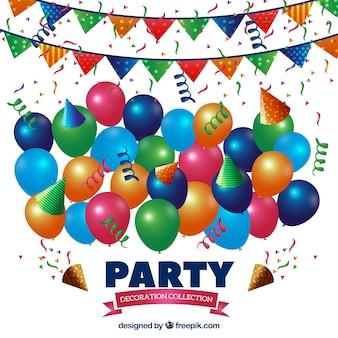 Reihe von bunten luftballons und girlanden geburtstag