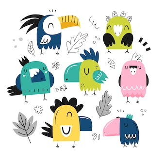 Reihe von bunten niedlichen papageien