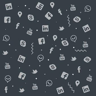 Reihe von bunten social media doodle texture design