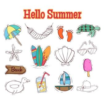 Reihe von bunten sommer-elementen mit doodle-stil
