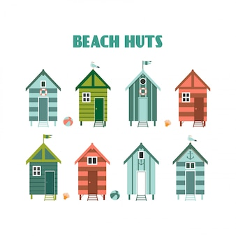 Reihe von bunten strandhütten.