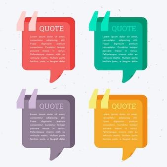 Reihe von bunten vier chat-blasen mit anführungszeichen