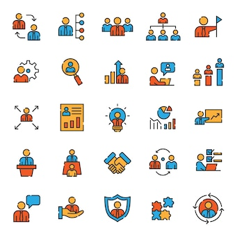 Reihe von business development management icons