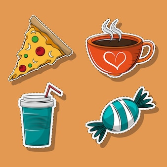 Reihe von cartoons für speisen und getränke